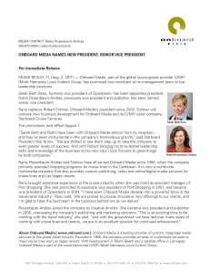 PRESS RELEASE - ONBOARD MEDIA